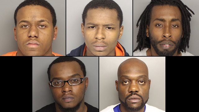 From top-left to bottom-right: Nicholas Nash, Daverin Simpkins, Sammy Wiley, Anthony Oglesby and Randy Wiley. (Source: Greenville Co. Sheriff's Office)