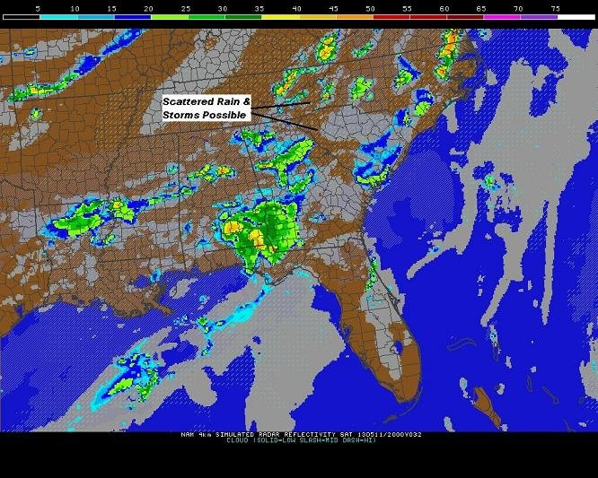 here's a projected radar image of spotty rain and a few storms tomorrow (Saturday) at 4pm