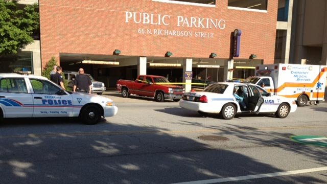 Greenville police blocked off Richardson Street in front of the parking garage after the death. (May 12, 2013/FOX Carolina)