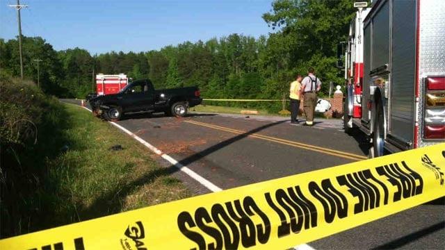 The wrecked truck along Jug Factory Road. (May 12, 2013/FOX Carolina)