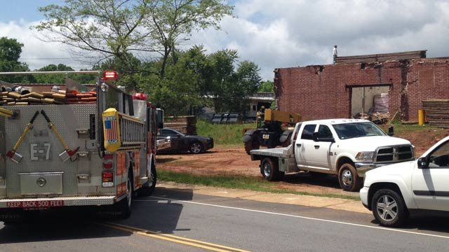 Simpsonville firefighters and police respond to report of structure collapse. (May 23, 2012/FOX Carolina)