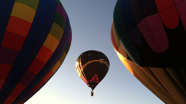 Hot air balloons fill the morning skies from Simpsonville Heritage Park for Aloft. (May 24, 2013/FOX Carolina)