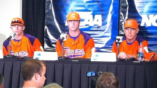 Some of the Clemson baseball team and Coach Leggett talk about the tournament in Columbia. (May 30, 2013/FOX Carolina)