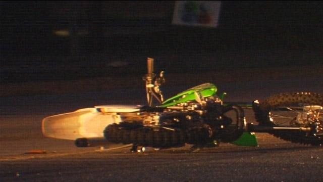 The wrecked dirt bike along Whitehall and McGee roads. (June 3, 2013/FOX Carolina)