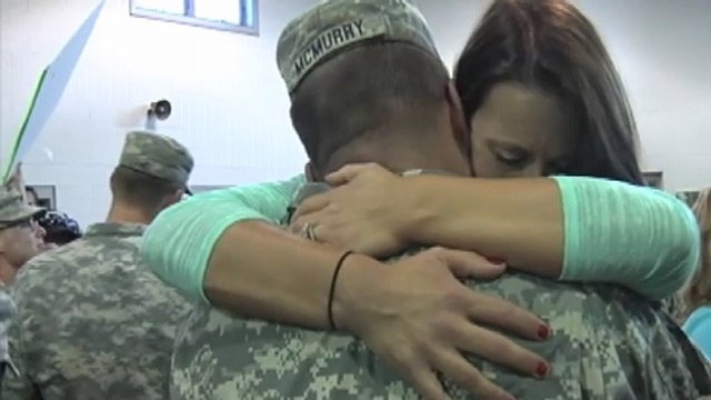 Family and friends eagerly hugged the soldiers upon their return home. (June 4, 2013/FOX Carolina)