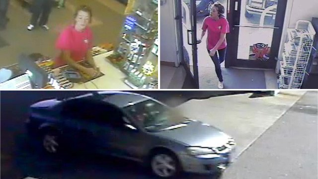 Police are looking for the woman who left in the car pictured above in connection with the theft. (Source: Greenville Police Dept.)