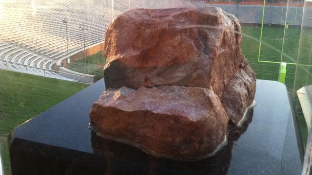 Howard's Rock damaged at Clemson University. (June 12, 2013/FOX Carolina)