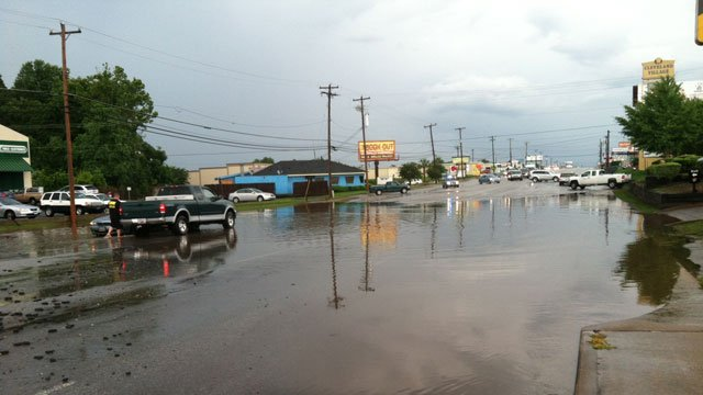 Asheville Highway was flooded partially on Monday. (June 17, 2013/FOX Carolina)