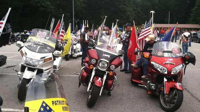 Patriot Guard Riders prepare to honor the Marines with an escorted drive. (June 17, 2013/FOX Carolina)