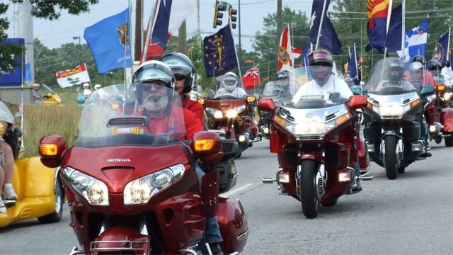 Gold Wing riders take part in a parade. (Source: Gold Wing Road Riders Association)