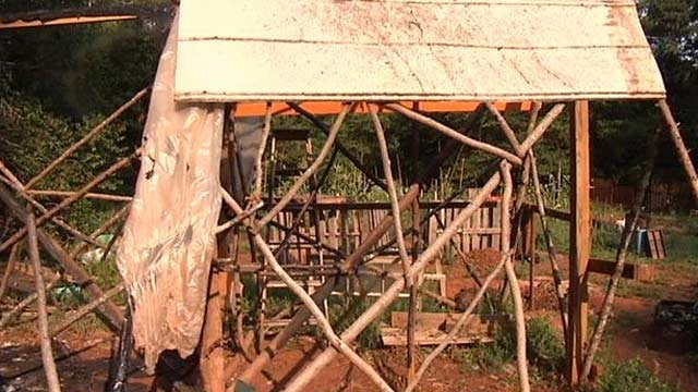 The damaged tent on Westcott's property. (June 24, 2013/FOX Carolina)