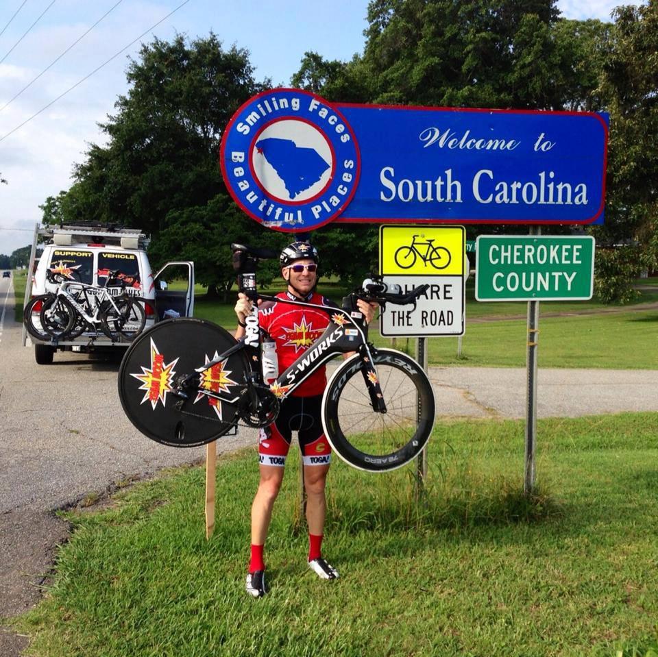 Dave Nazaroff crosses into SC. (Source: Carol Swarbrick)