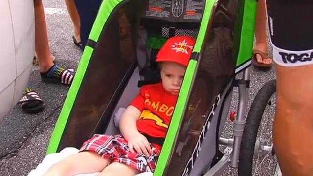 Tripp is ready to ride for the final mile. (July 1, 2013/FOX Carolina)