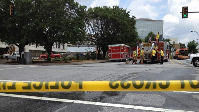 Authorities have Spring and Brown streets closed in downtown Greenville at the site of the break. (July 1, 2013/FOX Carolina)