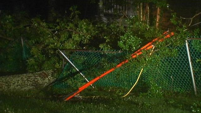 Part of the downed tree atop a fence. (July 4, 2013/FOX Carolina)