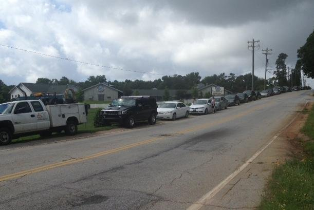 Cars lined up before the doors opened for Saturday's adoption event.(July 6, 2013/FOX Carolina)