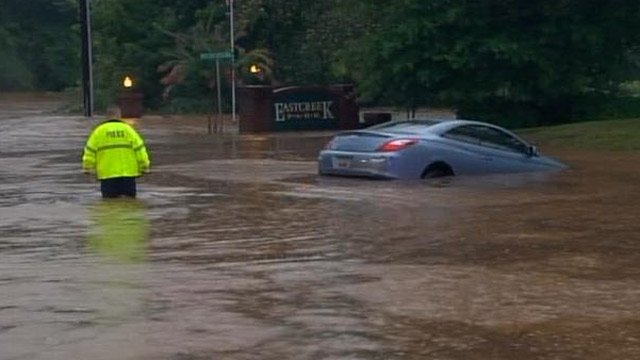 Patrick Tighe's flooded car in Mauldin. (July 8, 2013/FOX Carolina)