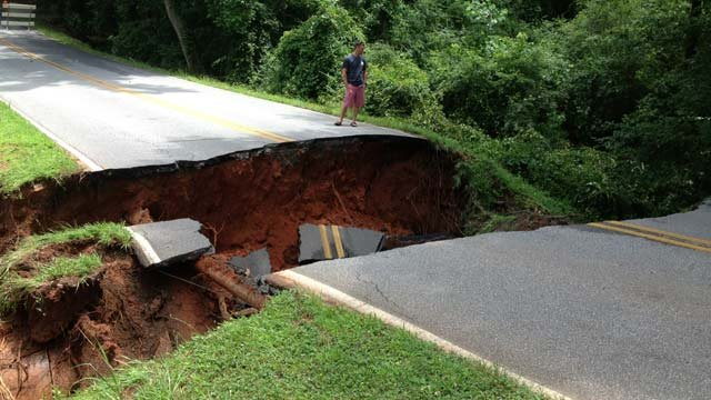 Part of Gerrard Road is washed away in Anderson County. (July 9, 2013/FOX Carolina)