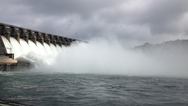 Hartwell Dam's gates opened Tuesday morning. (July 9, 2013/FOX Carolina)
