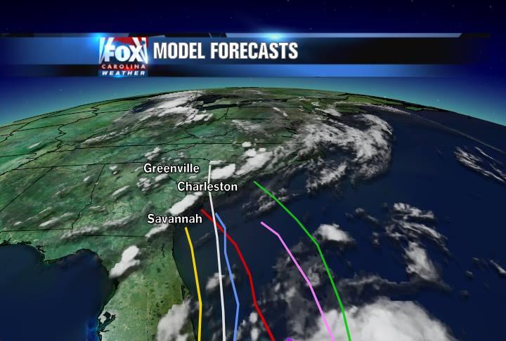 Model forecast tracks for Chantal