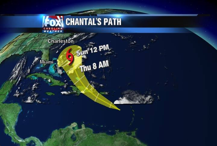 Forecast track/timing for Chantal