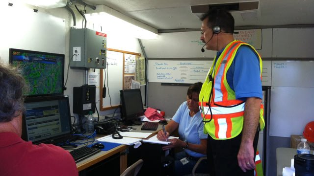 ReWa's command post keeps an eye on the weather and sewer issues in the area. (July 10, 2013/FOX Carolina)