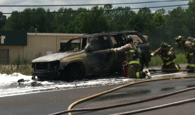Greenville deputy's vehicle that caught fire (7/12/2013/FOX Carolina)