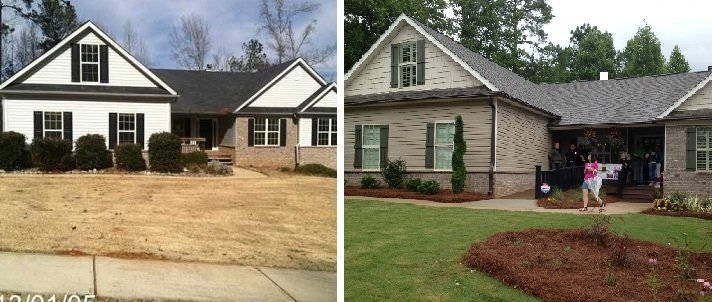 The exterior of the Halstead home, shown before and after.  Photo by Sunshine on a Ranney Day and FOX Carolina.