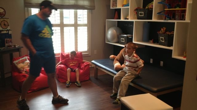 The therapy area of Tripp Halstead's room. Photo by FOX Carolina.