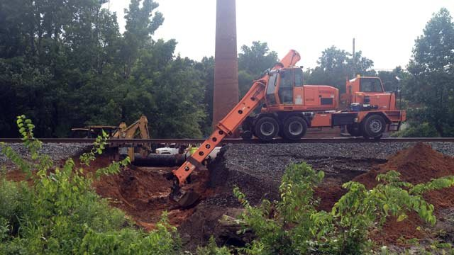 The washed out railroad tracks. (July 13, 2013/FOX Carolina)