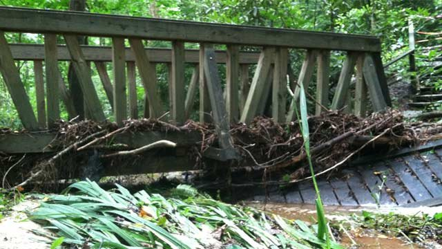 One of the flood-damaged bridges in garden. (July 14, 2013/FOX Carolina)