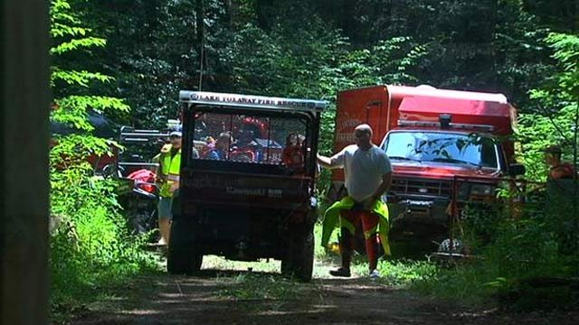 Rescue crews at the staging area for the search. (July 15, 2013/FOX Carolina)