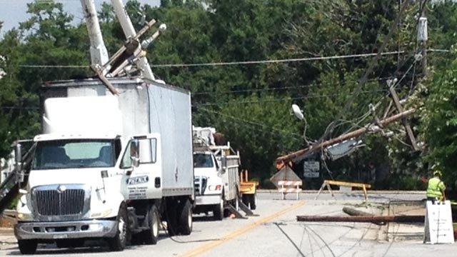 The semi truck with a part of the pole on top of it along Hedge Street. (July 18, 2013/FOX Carolina)