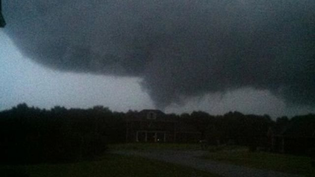 Photo of a funnel cloud.  Captured by FOX Carolina viewer.