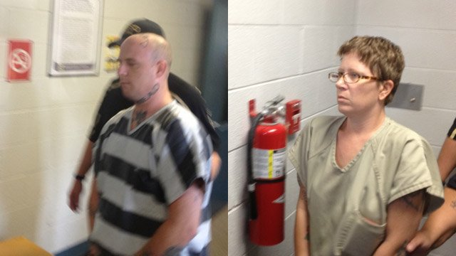 Christine and Jeremy Moody at their bond hearing on Wednesday (Source: FOX Carolina)