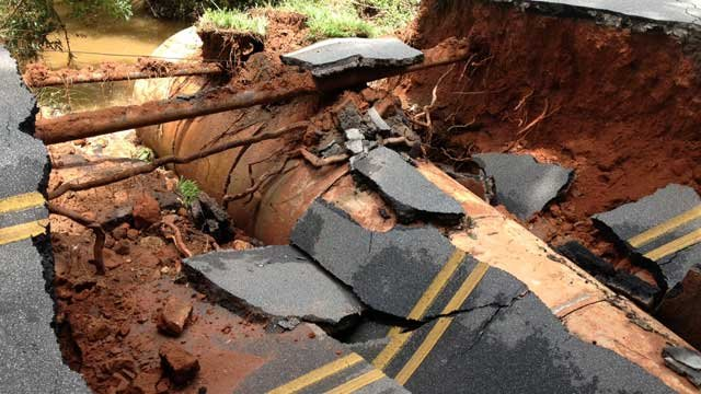 Damage to a road from rain and flood damage in the Upstate (File: FOX Carolina)