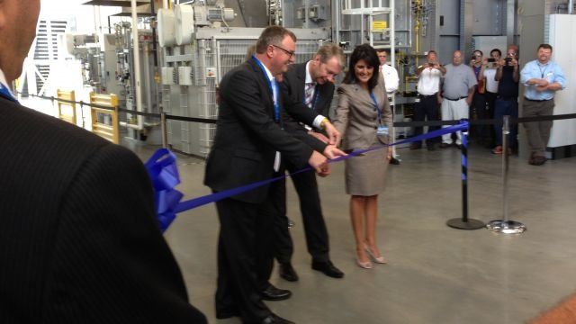 Ribbon cutting for expansion of ZF Transmissions in Gray Court on July 26, 2013. FOX Carolina.