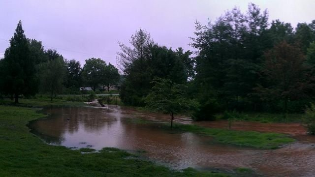 Flooding at Bates Crossing Rd north of Travelers Rest on July 27, 2013. Photo from FOX Carolina viewer Jill S.