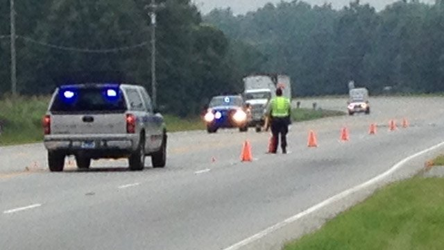 Troopers had part of U.S. 25 blocked near Daventon Road where the wreck happened. (July 31, 2013/FOX Carolina)