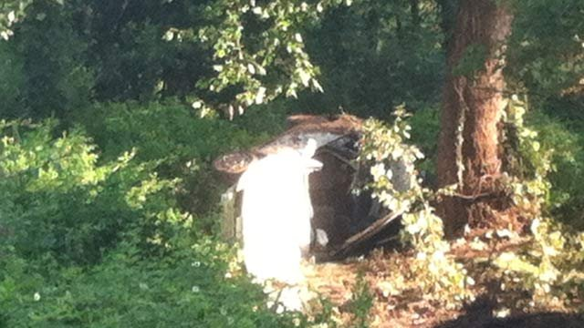 Scene of the accident along Rainbow Springs Road. (Aug. 1, 2013/FOX Carolina)