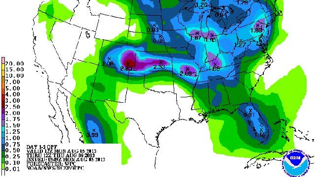 Estimated rain for next 3 days. (Source:  HPC)