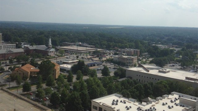 An aerial look at downtown Spartanburg. (Aug. 5, 2013/FOX Carolina)