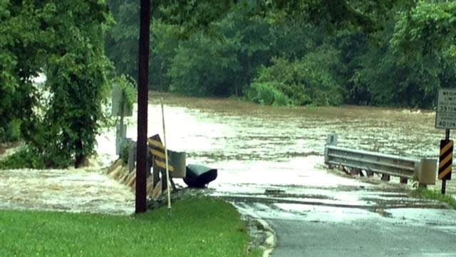 Green River Road is flooded in Zirconia, NC. (Aug. 7, 2013/FOX Carolina)