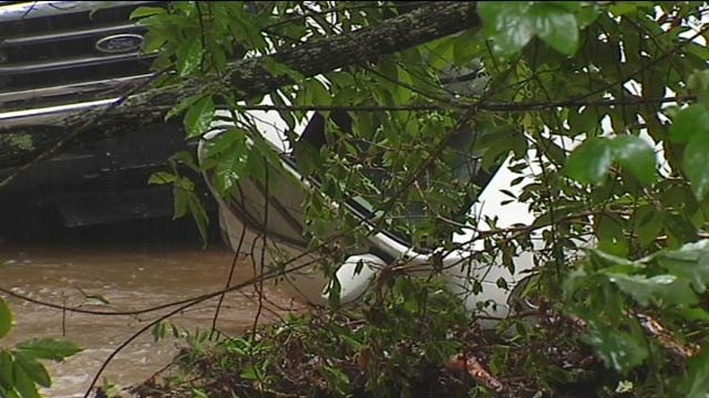 A car washed off a Pickens County road. (Aug. 7, 2013/FOX Carolina)