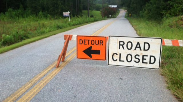 Silver Creek Road is closed because of flooding. (Aug. 8, 2013/FOX Carolina)