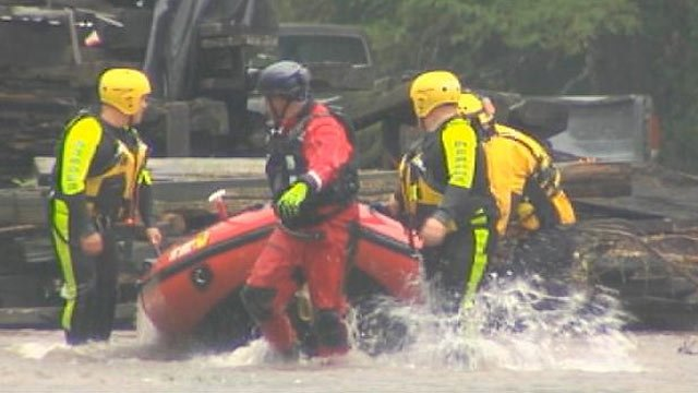 The Green River flooded, leading to a few rescues in Henderson County. (Aug. 7, 2013/FOX Carolina)