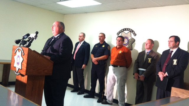 Coroner Rusty Clevenger announces the identification of Thomas' body. (Aug. 8, 2013/FOX Carolina)