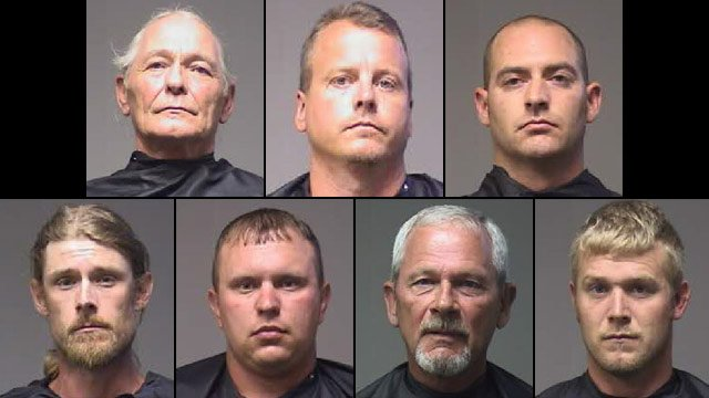 From top-left to bottom-right: Charles Blowers, David Brown, Wesley Hedden, Thomas Mann, Ty Mills, Sherwood Patterson and Jason Sullivan. (Source: Pickens Co. Detention Center)