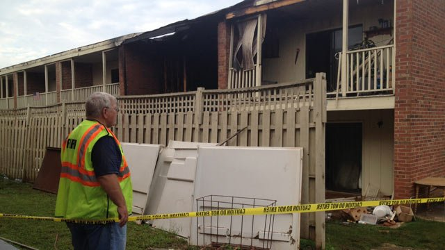 The fire-destroyed apartment building. (Aug. 14, 2013/FOX Carolina)