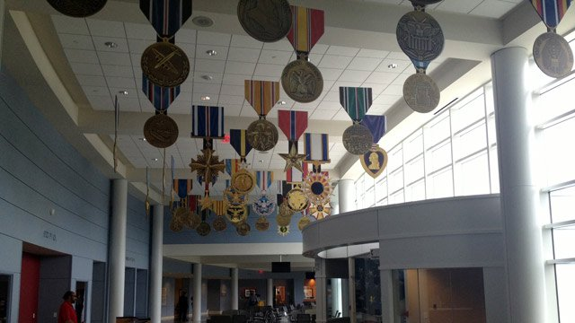 Military medals decorate the inside of the new clinic. (Aug. 16, 2013/FOX Carolina)